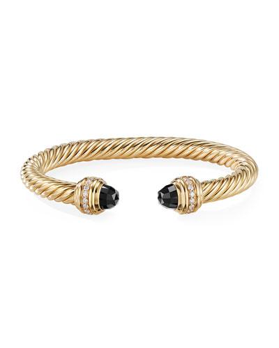 18k Gold Cable Bracelet w/ Onyx & Diamonds  Size L
