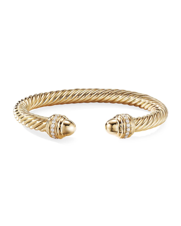 18k Gold Cable Bracelet W Diamonds 7mm Size M