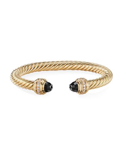 18k Gold Cable Bracelet w/ Onyx & Diamonds  Size S