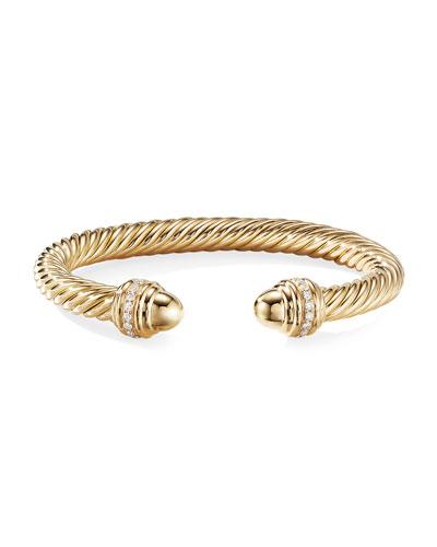 18k Cable Bracelet w/ Diamonds  7mm  Size S