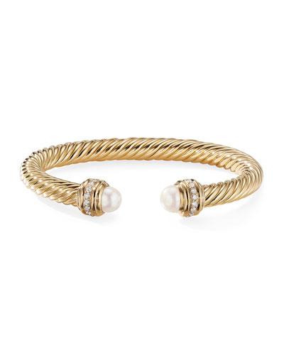 18k Gold Cable Bracelet w/ Diamonds & Pearls, 7mm, Size S