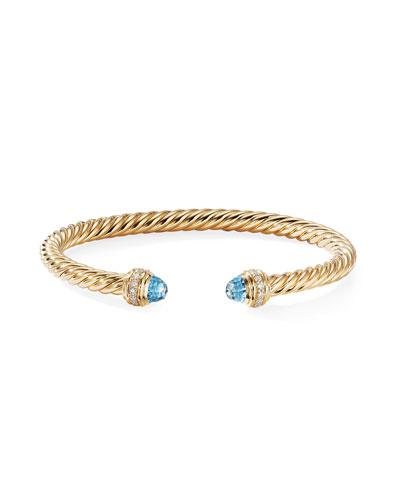 David Yurman 18k Gold Cable Bracelet W Diamonds Topaz
