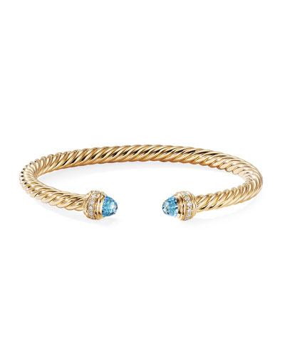 18k Gold Cable Bracelet w/ Diamonds & Topaz  Size M