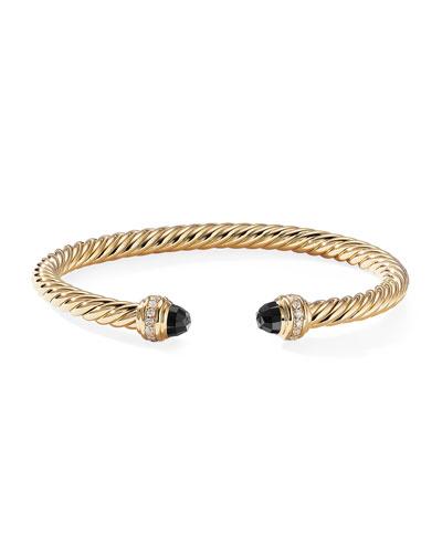 18k Gold Cable Bracelet w/ Diamonds & Onyx  Size S