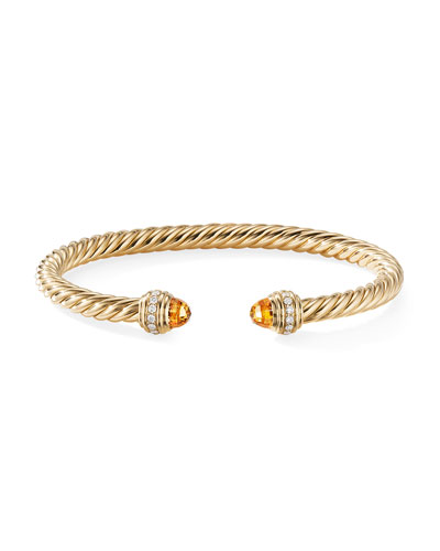 18k Gold Cable Bracelet w/ Diamonds & Citrine  Size S