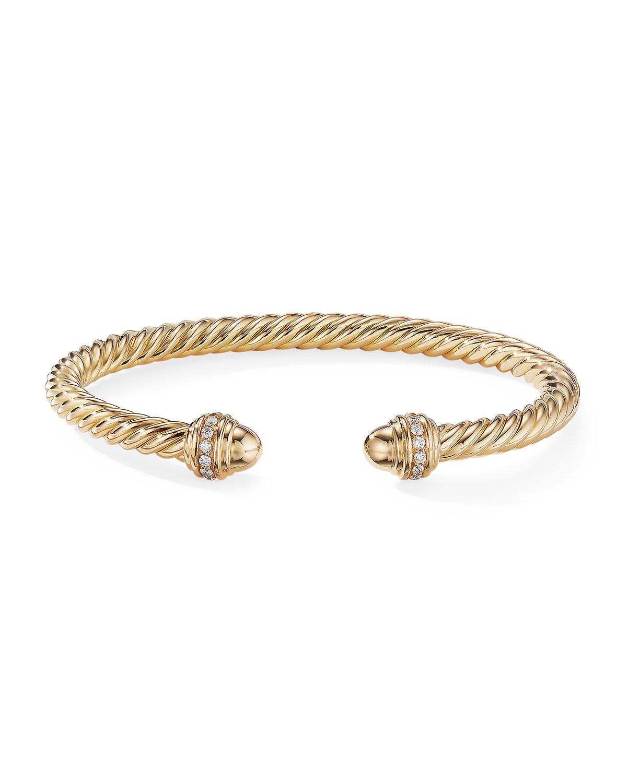 18k Gold Cable Bracelet W Diamonds Size S