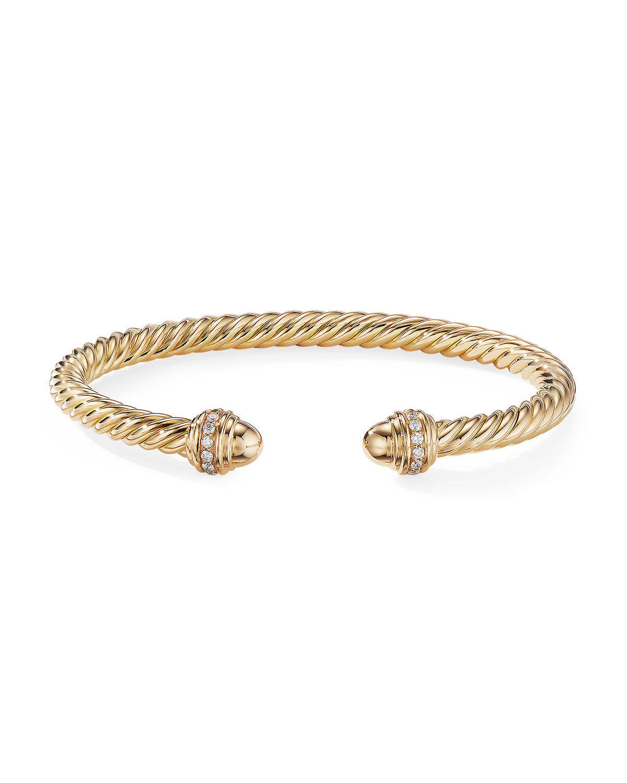 18k Gold Cable Bracelet W Diamonds Size M