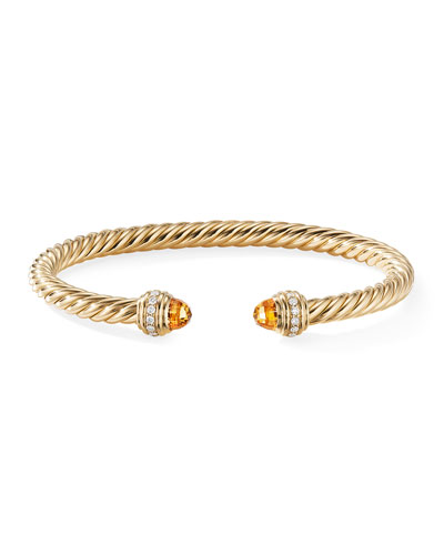 18k Gold Cable Bracelet w/ Diamonds & Citrine  Size M