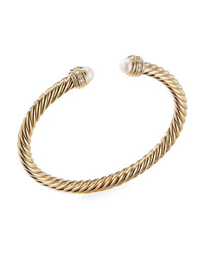 18k Gold Cable Bracelet w/ Diamonds & Pearls  Size L