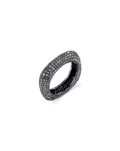Oxidized Sterling Silver Square Ring with Champagne Diamonds  Size 8
