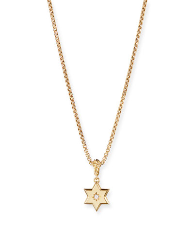 18k Gold Diamond Star of David Pendant