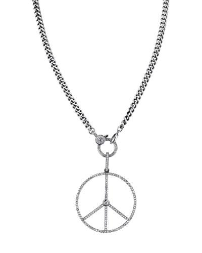 Diamond Peace Sign Pendant Necklace