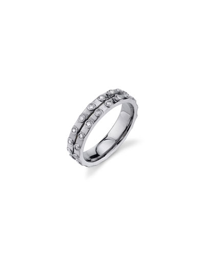 Double-Row Diamond-Bezel Eternity Band  Size 7