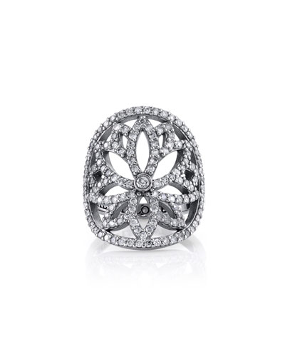 Diamond Lotus Cutout Ring  Size 7