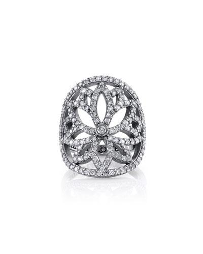 Diamond Lotus Cutout Ring, Size 7