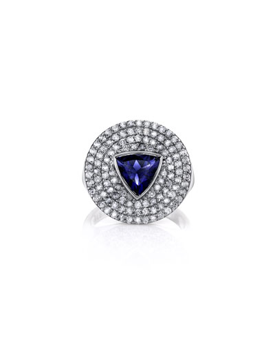 Iolite Trillion & Diamond Ring  Size 7