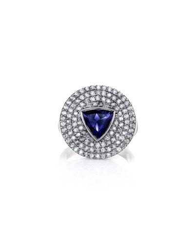 Iolite Trillion & Diamond Ring, Size 7