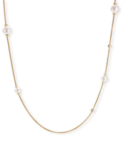 Long 18k Gold Pearl & Diamond Chain Necklace  36L