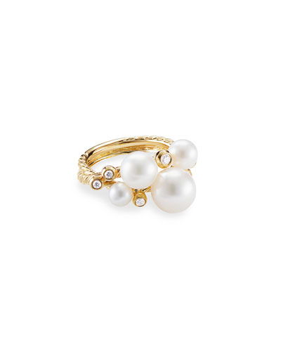 18k Gold Pearl & Diamond Cluster Ring, Size 8