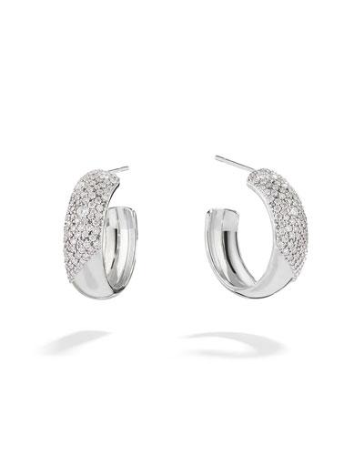 14k White Gold Cluster Diamond Hoop Earrings