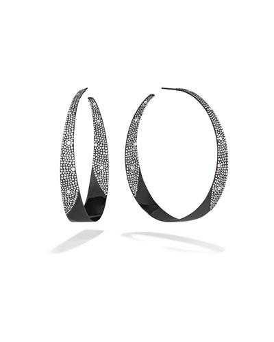 14k Black Gold In/Out Diamond Hoop Earrings
