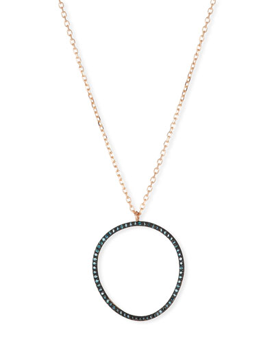 14k Rose Gold Blue Diamond Wave Circle Necklace