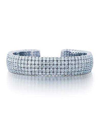 18k White Gold 5-Row Diamond Cuff Bracelet