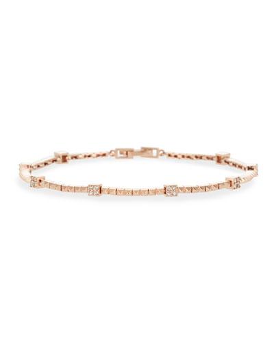 14k Rose Gold Pyramid Diamond Tennis Bracelet