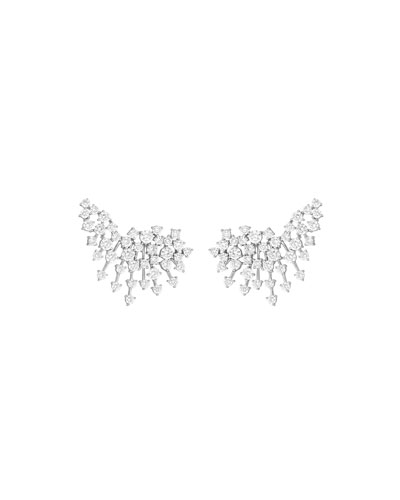 Luminus 18k White Gold Diamond Curved Earrings