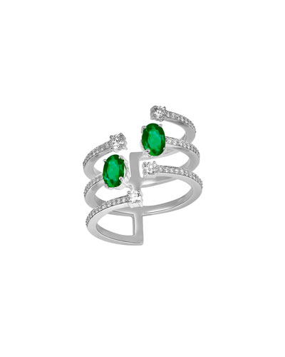 Spectrum 18k White Gold Emerald & Diamond Ring  Size 8