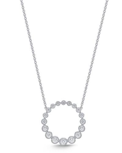 18k White Gold Diamond Bubbles Pendant Necklace