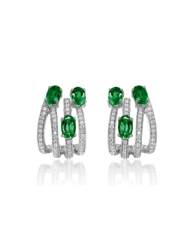 Spectrum 18k White Gold 3-Emerald & Diamond Earrings