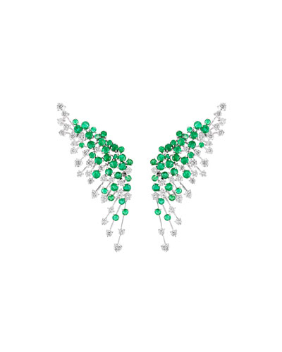 Luminus 18k White Gold Diamond & Emerald Winged Earrings