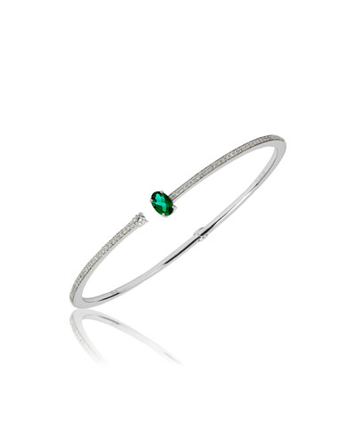 Spectrum 18k White Gold Diamond & Emerald Bracelet