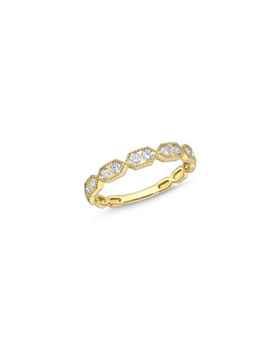 Stack 'Em Up Hexagon Diamond Duo Stacking Ring in 18k Gold  Size 6.5