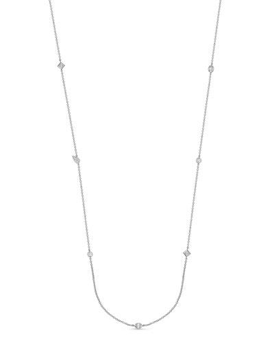 18k White Gold Mixed-Cut Diamond Necklace