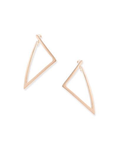18k Rose Gold Electroform Triangle Earrings