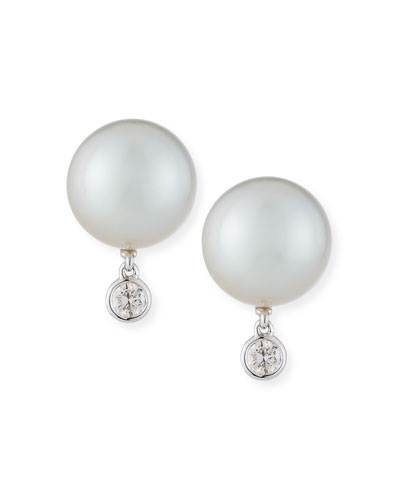 18k White Gold Pearl & Diamond Stud Earrings