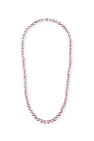 Belpearl Long Kasumiga Pearls Necklace w/ 18k White Gold, Pink