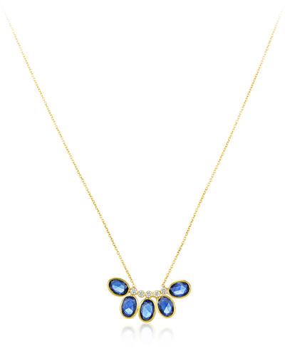 Rashmika 18k Blue Sapphire & Diamond Curved Necklace