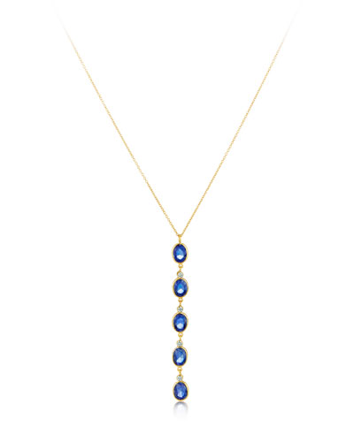 Rashmika 18k Blue Sapphire & Diamond Y-Drop Necklace
