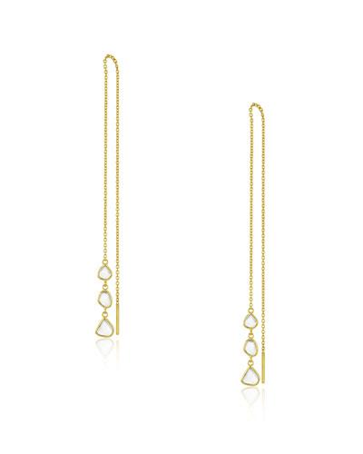 Polki Diamond Slice Threader Earrings