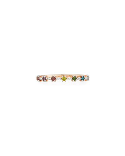 14k Multicolor Diamond Flowerette Stacking Ring, Size 6.5