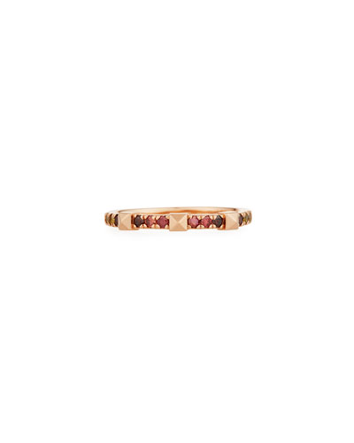 14k Rose Gold Warm Ombre Diamond & Pyramid Stackable Ring, Size 6.5