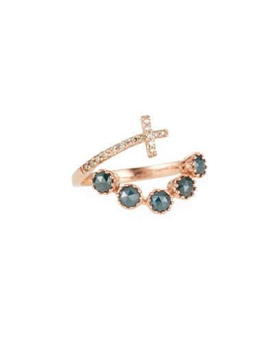 14k Rose Gold Diamond Cross Wrap Ring  Size 7