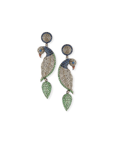 Diamond  Sapphire & Tsavorite Parrot Earrings