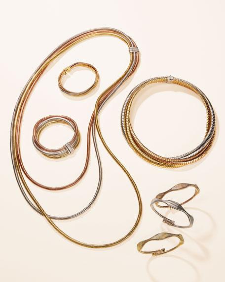 Alberto Milani Tubogas 18k Gold Tricolor Stacked Bracelet w/ Diamonds
