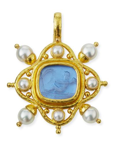 19k Venetian Glass Intaglio Pendant  Cerulean