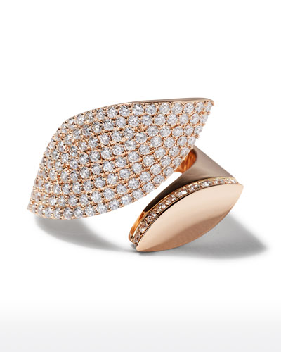 18k Rose Gold Diamond Petal Ring  Size 7