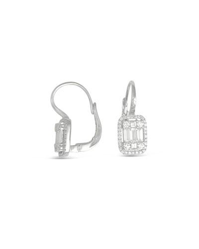 18k White Gold Mini Diamond Rectangular Cluster Earrings